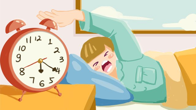 In the beginning of september students get up and turn off alarm bell illustration, September School Season, School Season, In The Morning illustration image