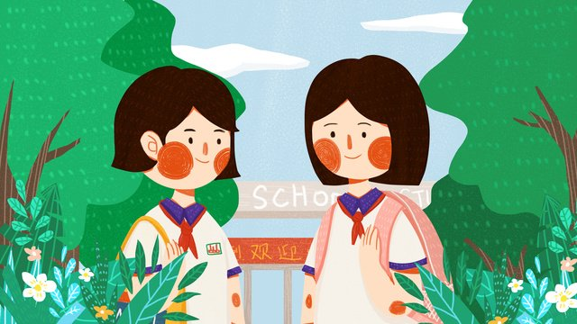 friends in the september school season meet with cute flat original illustration llustration image illustration image