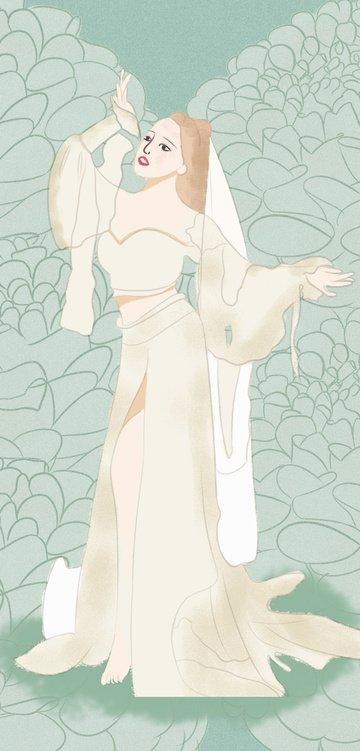 ilustrasi aslinya tujuh bunga dongeng tidur yang mengalir ke laut imej ilustrasi