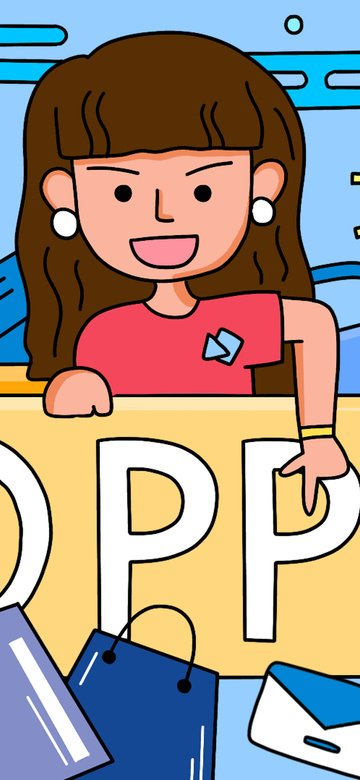 fesyen stroke shopping scene boy girl illustration imej keterlaluan imej ilustrasi