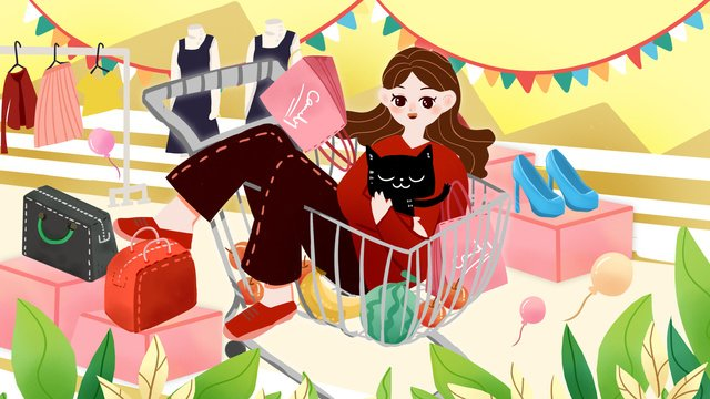 shopping double eleven twelve carnival to buy merchandise clothing cart llustration image illustration image