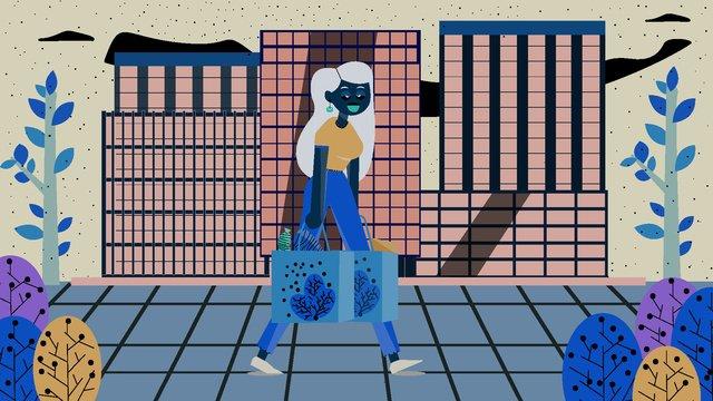 여자 소매치기 쇼핑 현장 평면 바람 그림 삽화 소재 삽화 이미지