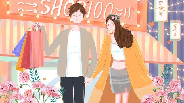ショッピングシーンピンクトーンの花カップルショッピングハンドバッグ新鮮なイラスト イラスト素材 イラスト画像