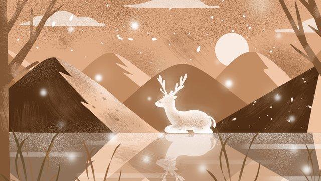 silhouette wind dream forest deep see deer original illustration llustration image