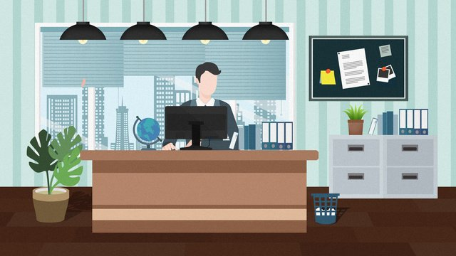 Simple flat business office illustration, Simple Business Office Illustration, Simple Office Illustration, Office Illustration illustration image