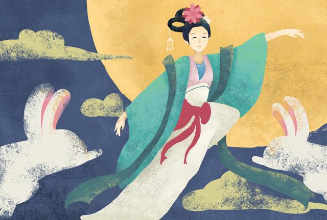 flat retro texture mid autumn festival 兔子 and rabbit original illustration llustration image