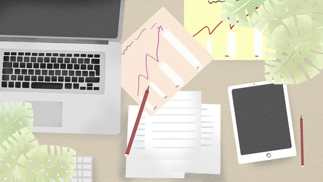simple and fresh business office scene desk llustration image illustration image