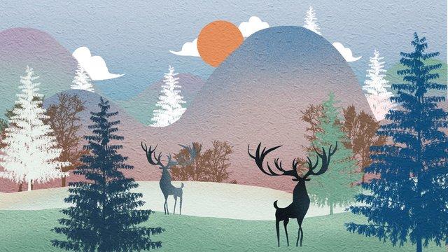 floresta fresca simples com veado Material de ilustração