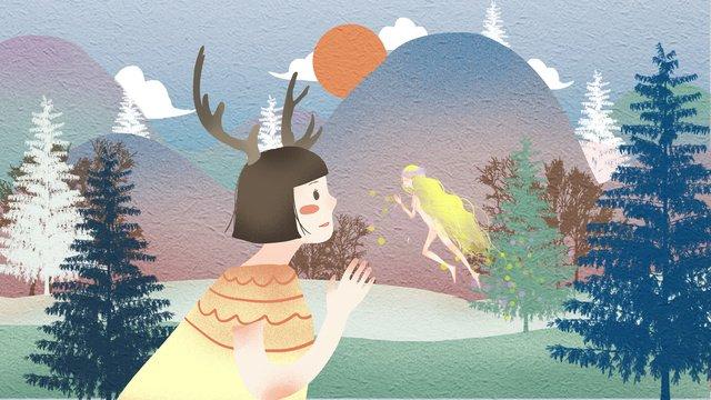 Deer elf trong một khu rừng đơn giản và tươi mátĐơn  Giản  Tươi PNG Và PSD illustration image