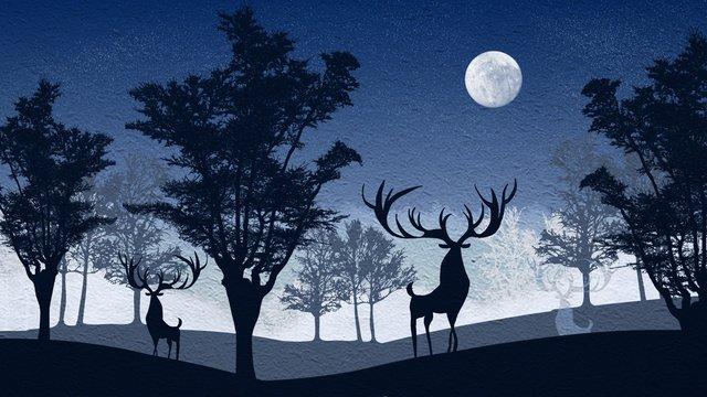 Simple and fresh night forest with deerĐêm  Mặt  Trăng PNG Và PSD illustration image