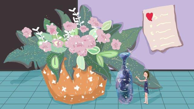 シンプルで、小さく、新鮮で癒しの植物鉢植えの植物とスターボトルのテーブル イラストレーション画像 イラスト画像