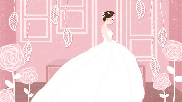 Original simple small fresh pink wedding illustration, Simple, Small Fresh, Pink illustration image