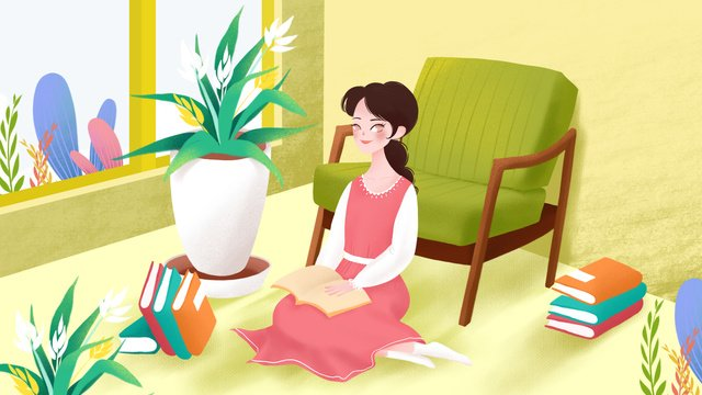 singles reading girl alone at home illustration llustration image illustration image