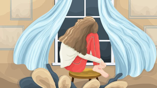 Singles Day double eleven Home Single girl, Alone, Girl, By The Window illustration image