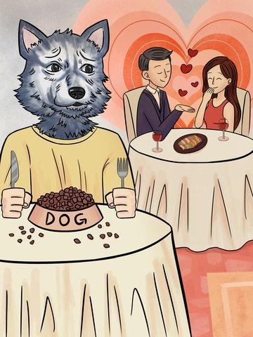 Одиночная собака ест собачью еду с юмором картой Иллюстрация изображения