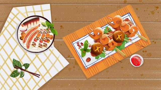 Food string original illustration, Skewers, Grilled Prawns, Food illustration image