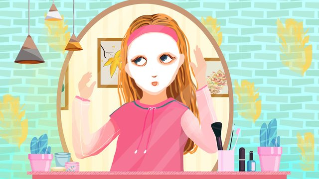 skincare makeup mask for girls llustration image illustration image