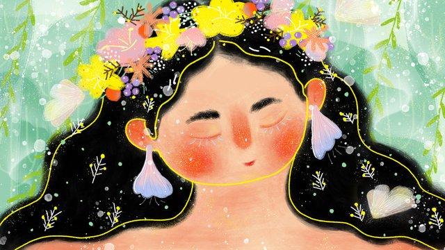 스킨 케어 로션 아름다운 소녀 삽화 소재