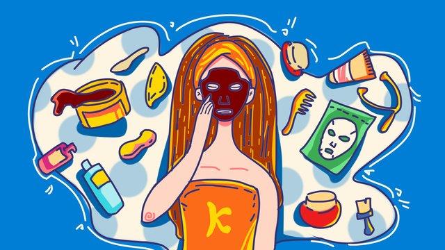 skincare makeup beauty sap mask moisture tương phản stroke minh họa Hình minh họa Hình minh họa