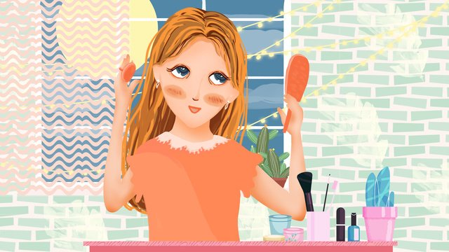 skincare makeup blushing girl llustration image illustration image