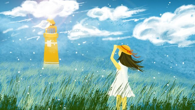 fresh girl looking out to the sky hand drawn illustration llustration image illustration image