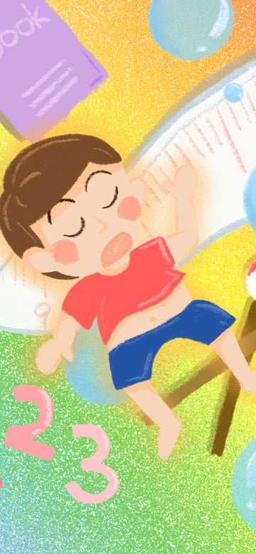 dreaming wonderland boy learning scene cartoon illustration llustration image