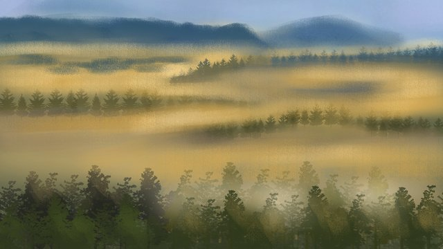 졸린 워킹 원더 랜드 구름 손으로 그린 그림 그림 이미지