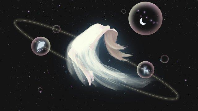 Sleepwalking wonderland healing wind beautiful little fairy goodnight hello illustrator poster, Sleepwalking Wonderland, Cure, Dream illustration image