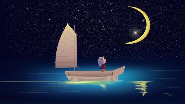 Sleepwalking wonderland healing wind beautiful fairy starry sky goodnight hello, Sleepwalking Wonderland, Cure, Fairy Tale illustration image