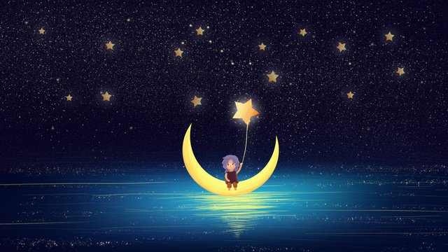 sleepwalking wonderland healing wind fantasy starry night goodnight illustration poster imej keterlaluan imej ilustrasi