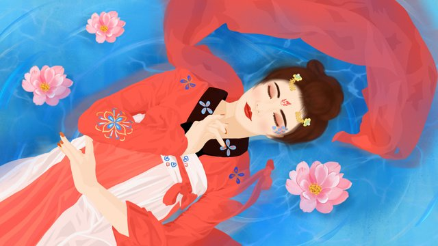 sleepwalking wonderland dream mirror series enron sleeping water mermaid fairy llustration image illustration image