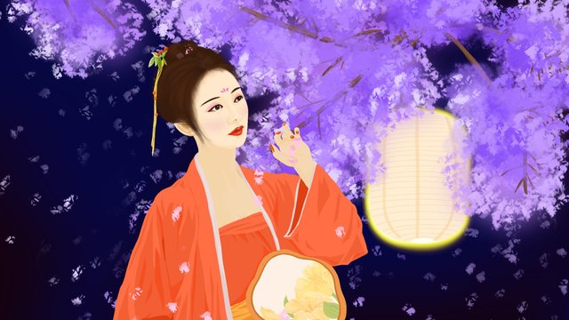 sleeping wonderland dreamland series bauhinia in classical hanfu beauty garden llustration image illustration image