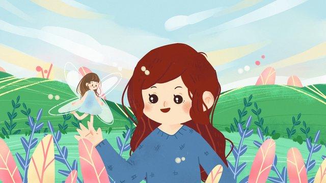 夢遊病ワンダーランドエルフの森おとぎ話子供のイラスト壁紙ポスター花 イラスト素材 イラスト画像
