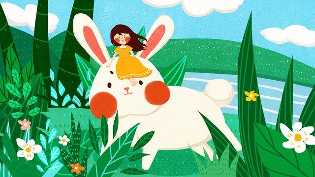 Sleepwalking wonderland little girl big rabbit flat cute heal original illustration, Sleepwalking, Wonderland, Fantasy illustration image
