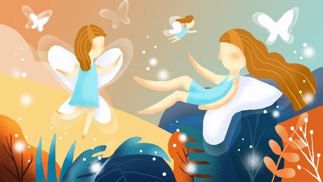 졸린 워킹 원더 랜드 치유 시스템 일러스트 레이션 삽화 소재 삽화 이미지