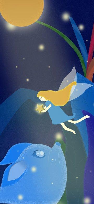 Лунатизм wonderland healing elf dream встреча оригинальная иллюстрация Ресурсы иллюстрации