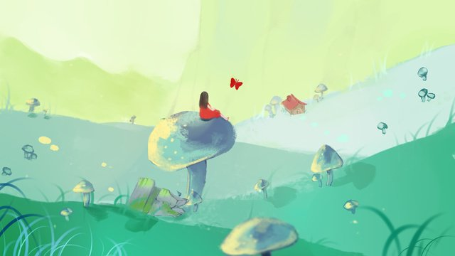 sleepwalking wonderland na ilustração do cogumelo estepe Material de ilustração