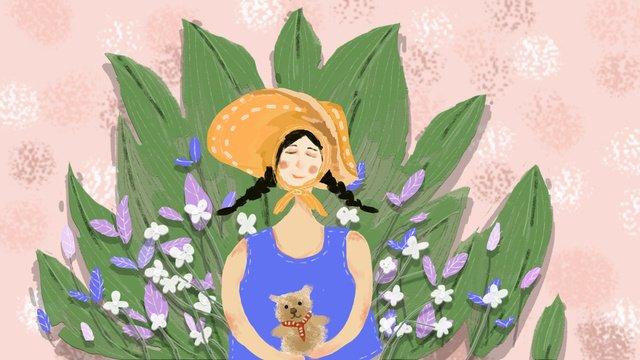 小清新治愈系夢遊仙境拿小熊的戴帽子少女 插畫素材