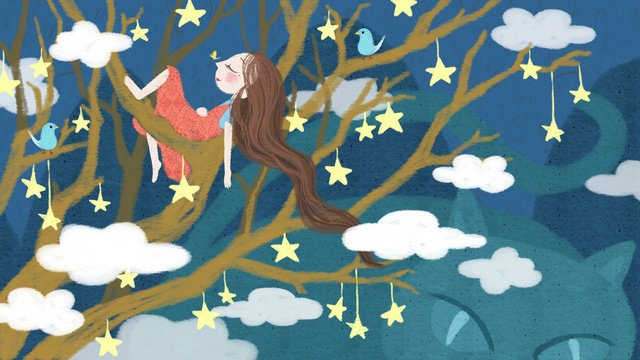 Sleepwalking wonderland - girl sleeping on the star tree, Sleepwalking Wonderland, Star, Tree illustration image