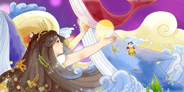 Sleeping fairyland girl encounters whale, Sleepwalking Wonderland, Whale, Teenage Girl illustration image