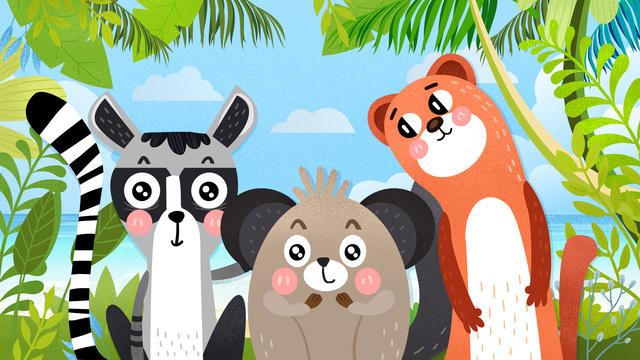 bonito cute floresta animal ilustração Material de ilustração