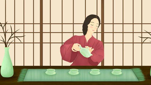Маленькая китайская чайная церемония на свежем воздухе Ресурсы иллюстрации Иллюстрация изображения