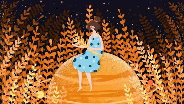 small fresh autumn planet harvest girl llustration image illustration image