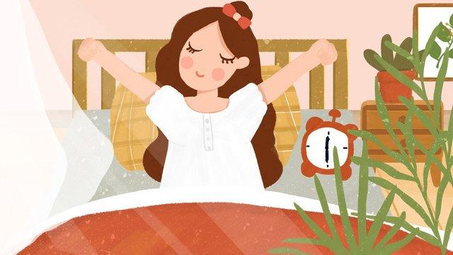 小さな新鮮なイラストこんにちはおはよう少女目覚まし時計手描きイラスト イラスト素材