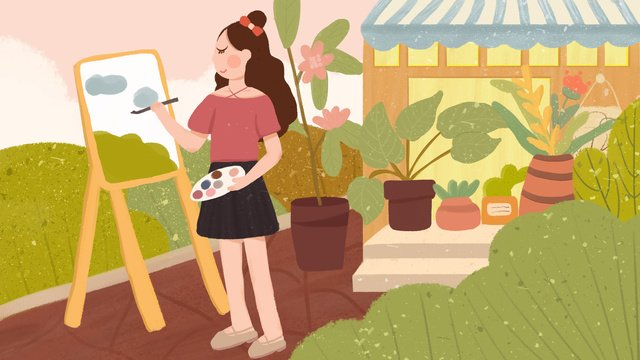 Small fresh cure you good morning little girl painting garden hand-painted illustration, Small Fresh, Cure, Hello There illustration image