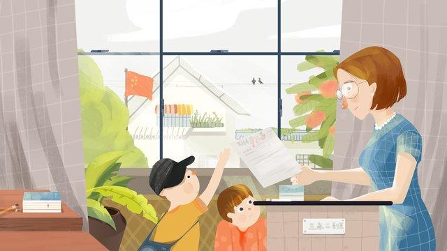 論文を送るための教室での小さな新鮮な癒し科教師の日 イラストレーション画像