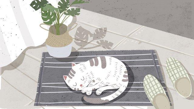 Иллюстрация кота спящего на коврике в маленькой свежей милой серии любимчика Ресурсы иллюстрации