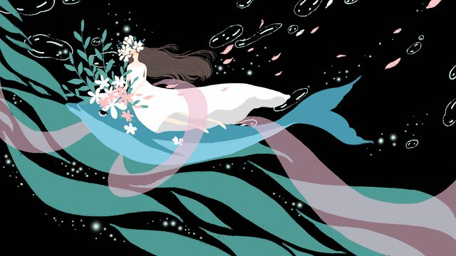 Small fresh dreams cure deep sea whale girl flowers, Small Fresh, Dream, Cure illustration image
