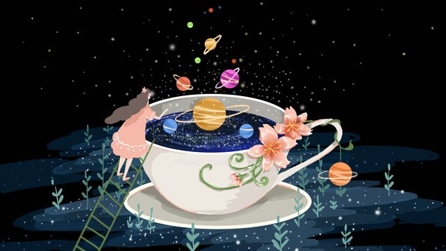 Small fresh dreamy cute night cure starry sky in coffee cup, Small Fresh, Dream, Lovely illustration image