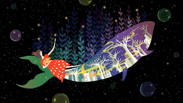 Small fresh night dream starry whale girl, Small Fresh, Dream, Whale illustration image
